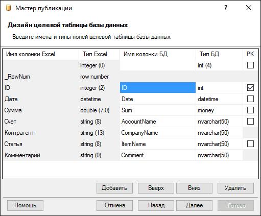 Создание таблиц в базе данных мастером Excel