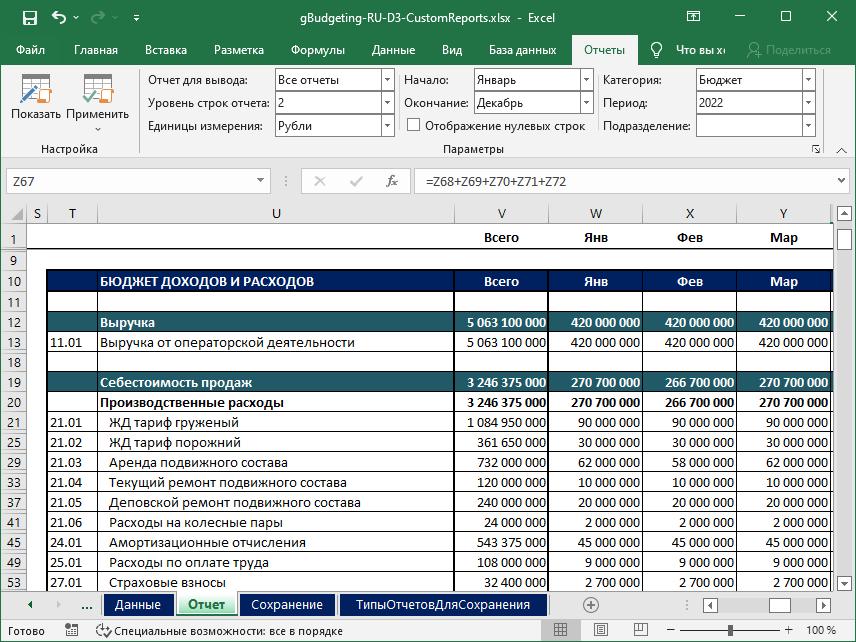 Пример настроенного отчета в Excel